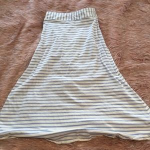 J Crew Blue White Stripe Long Maxi Cotton Skirt